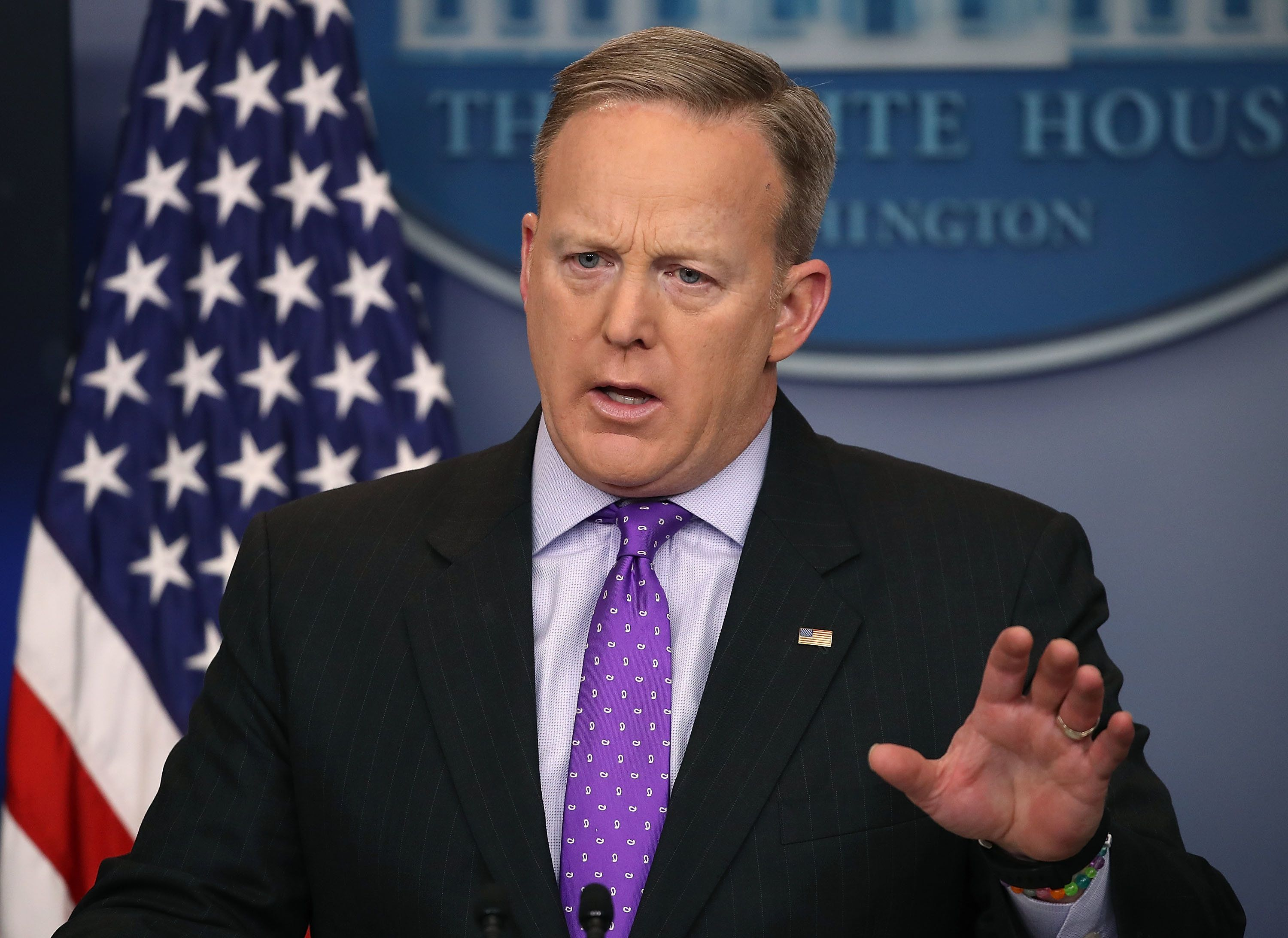 White House Press Secretary Sean Spicer takes questions from reporters during the daily press briefing at the White House Feb