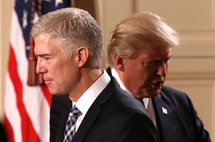 U.S. President Donald Trump and Neil Gorsuch, who he nominated to the Supreme Court. Jan. 31.