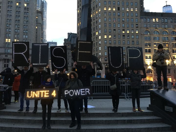 Demonstrators gather at Foley Square in Lower Manhattan on January 29, 2016, after an anti-Trump march from Battery Park.
