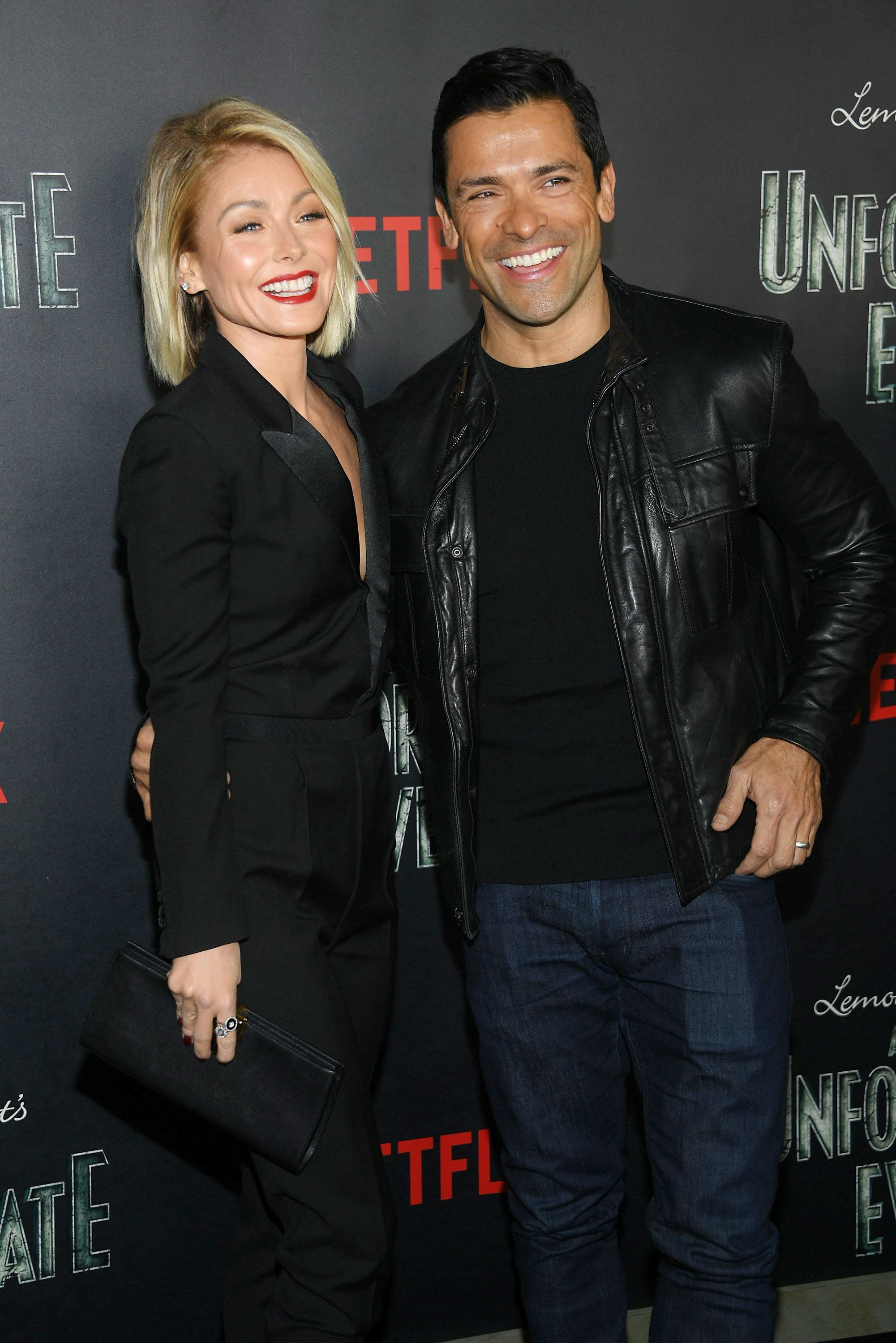 NEW YORK, NY - JANUARY 11:  Kelly Ripa and  Mark Consuelos attend the 'Lemony Snicket's a Series of Unfortunate Events' screening at AMC Lincoln Square Theater on January 11, 2017 in New York City.  (Photo by Dimitrios Kambouris/Getty Images)