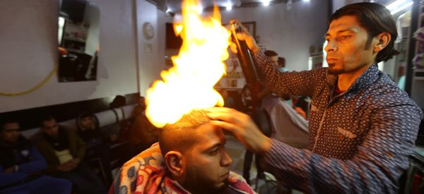 Blowtorch Barber Is Hottest Thing In Gaza