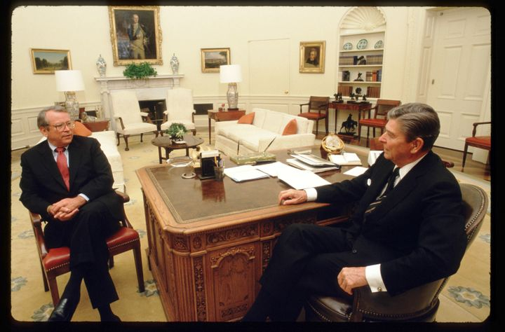 The 25th Amendment's Section 4 nearly came off the bench after Howard H. Baker Jr., left, became President Ronald Reagan's ch