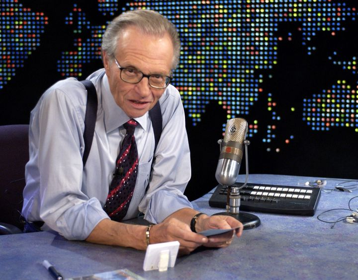 "Larry King on ""Larry King Live"" at CNN Studios in Hollywood, California, in 2003."