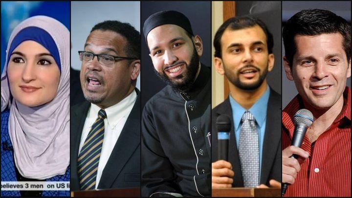 <p>From L to R: Activist Linda Sarsour, Rep. Keith Ellison, Imam Omar Suleiman, author Qasim Rashid, and comedian/writer Dean A Obeidallah.</p>