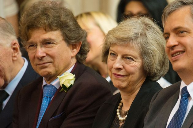 Theresa May with Nick Winton at his father's memorial service in