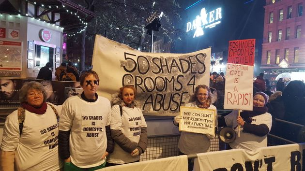 Protesters at the 'Fifty Shades'