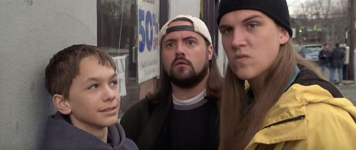"Kevin Smith (center) and Jason Mewes (right) in ""Jay and Silent Bob Strike Back."""