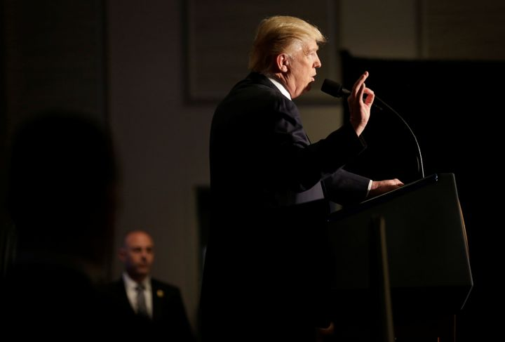 U.S. President Donald Trump speaks to members of the law enforcement at the Major Cities Chiefs Association (MCCA) Winter Con