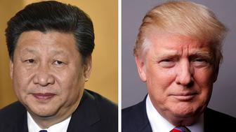 A combination of file photos showing Chinese President Xi Jinping (L) at London's Heathrow Airport, October 19, 2015 and U.S. President Donald Trump posing for a photo in New York City, U.S., May 17, 2016. REUTERS/Toby Melville/Lucas Jackson/File Photos