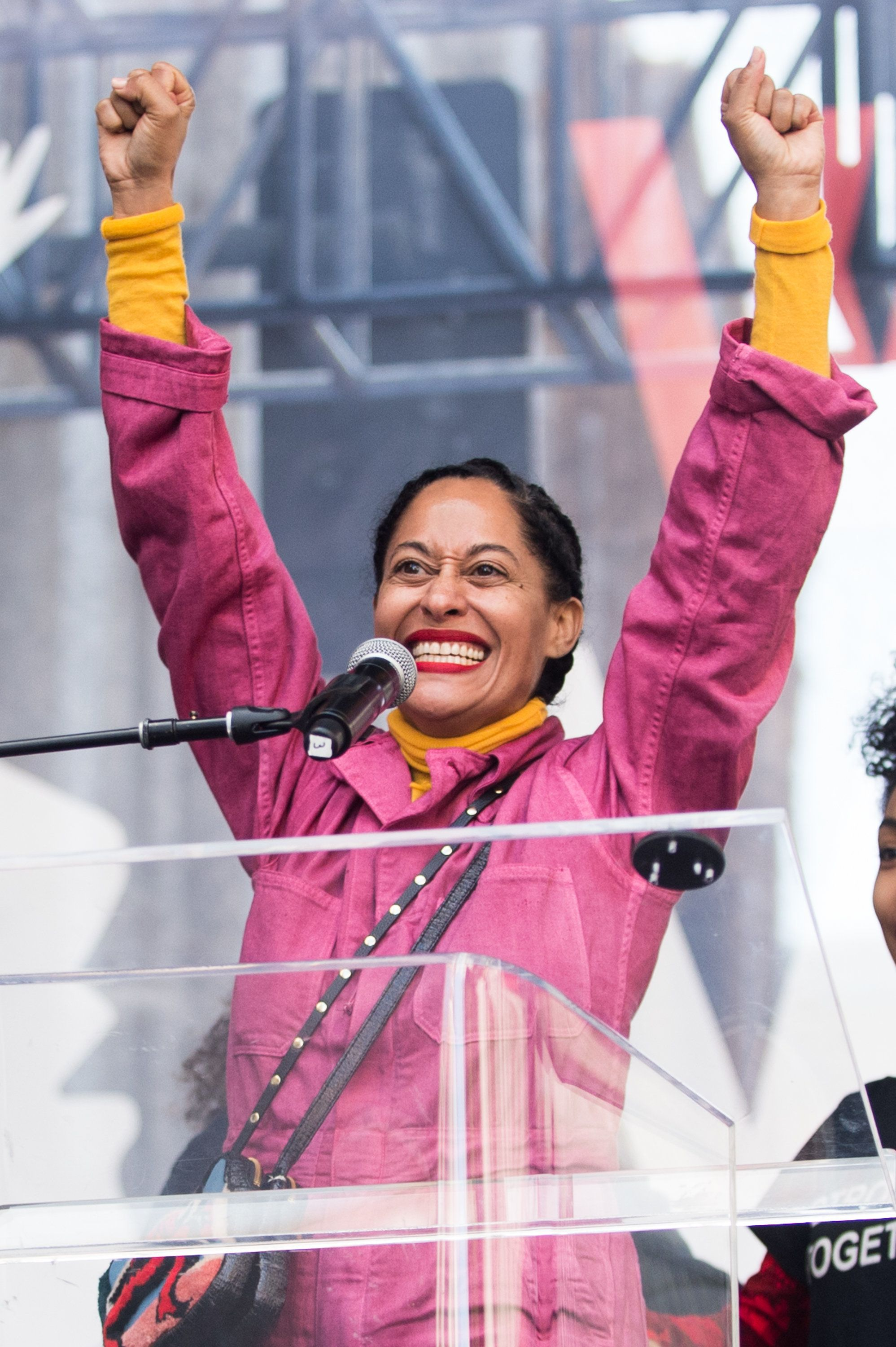 LOS ANGELES, CA - JANUARY 21:  Actress Tracee Ellis Ross speaks onstage at the women's march in Los Angeles on January 21, 2017 in Los Angeles, California.  (Photo by Emma McIntyre/Getty Images)