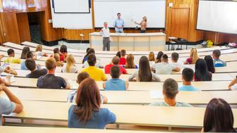 Professors and assistants explaining a lecture to a group of college students.