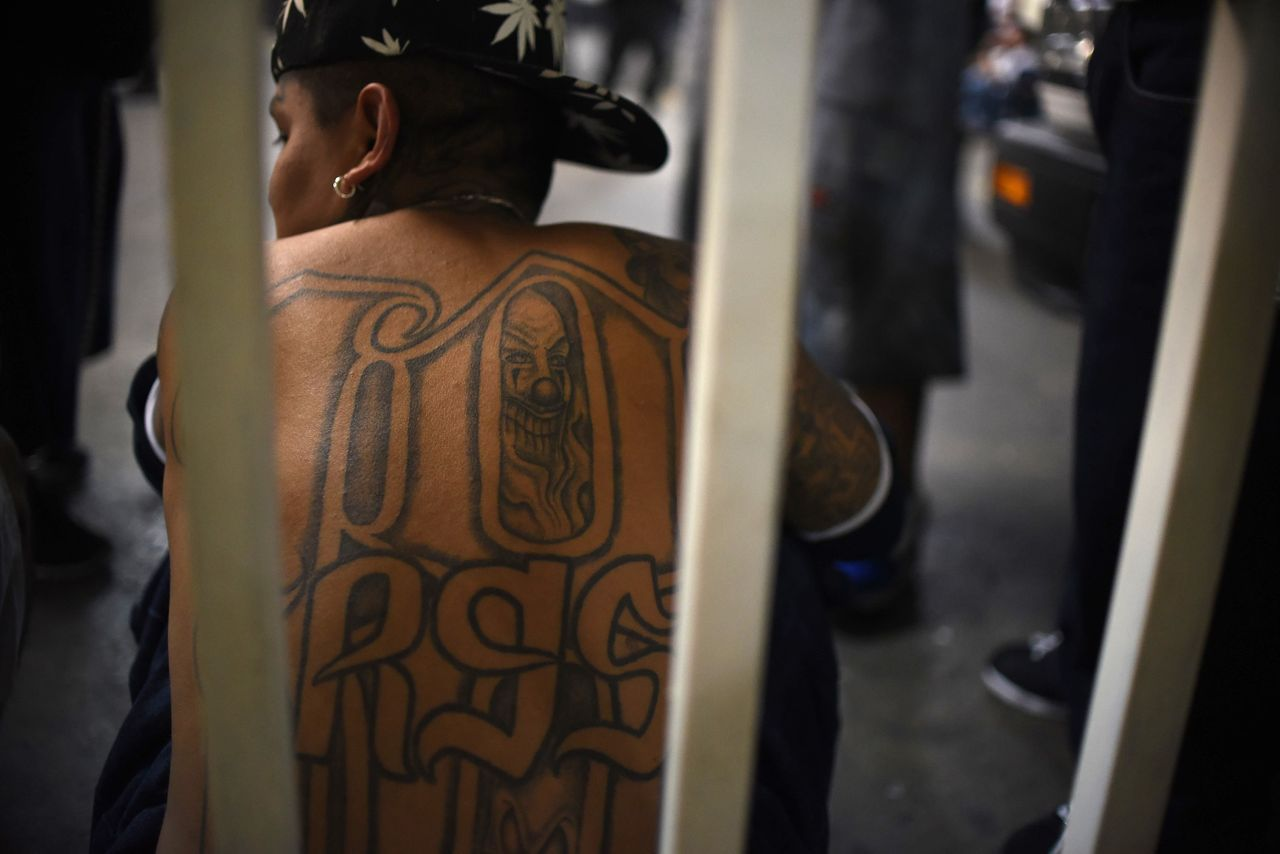 A member of the Mara 18 gang in the Supreme Court building in Guatemala City on Sept. 30, 2015.