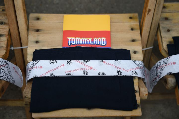 White bandanas on the seats at TommyLand.