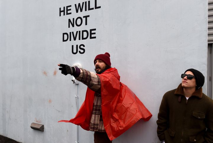 "Shia LaBeouf at ""He Will Not Divide Us"" outside the Museum of the Moving Image."