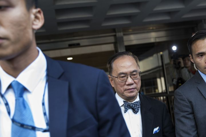 Donald Tsang, Hong Kong's former chief executive, leaves the High Court, Jan. 3, 2017. He pleaded not guilty to a bribery cha