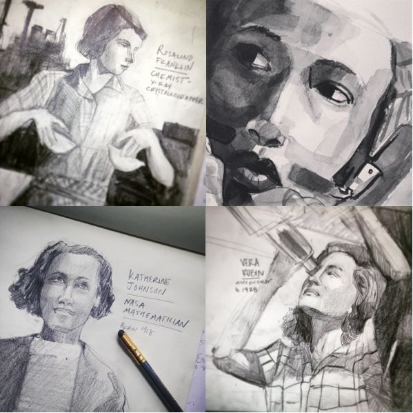 Pictured top left-right, bottom left-right: Rosalind Franklin, Mae Jemison, Katherine Johnson, Vera Rubin.
