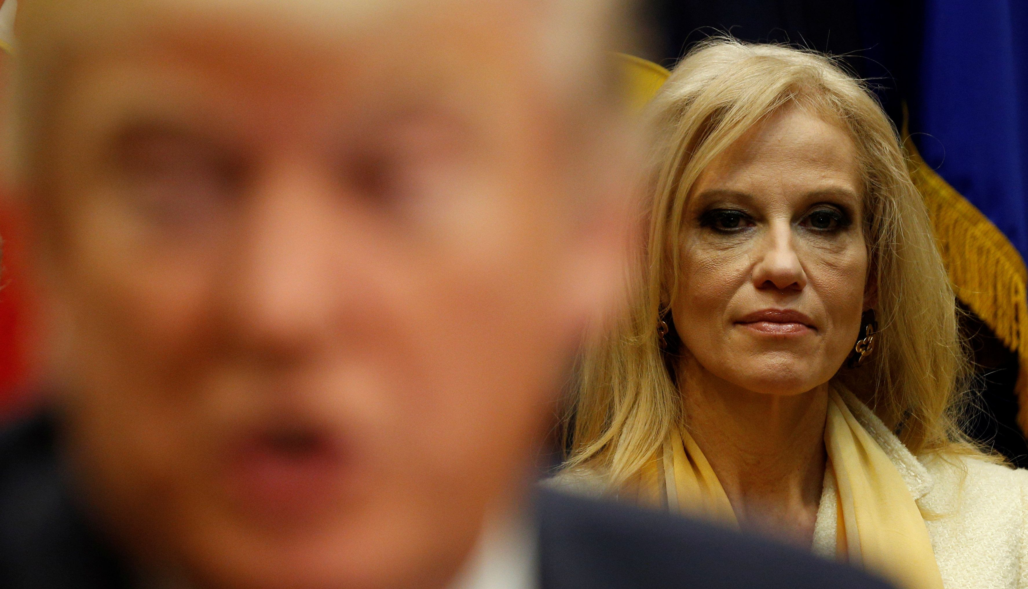 White House advisor Kellyanne Conway listens as U.S. President Donald Trump meets with county sheriffs at the White House in Washington, U.S. February 7, 2017.  REUTERS/Kevin Lamarque
