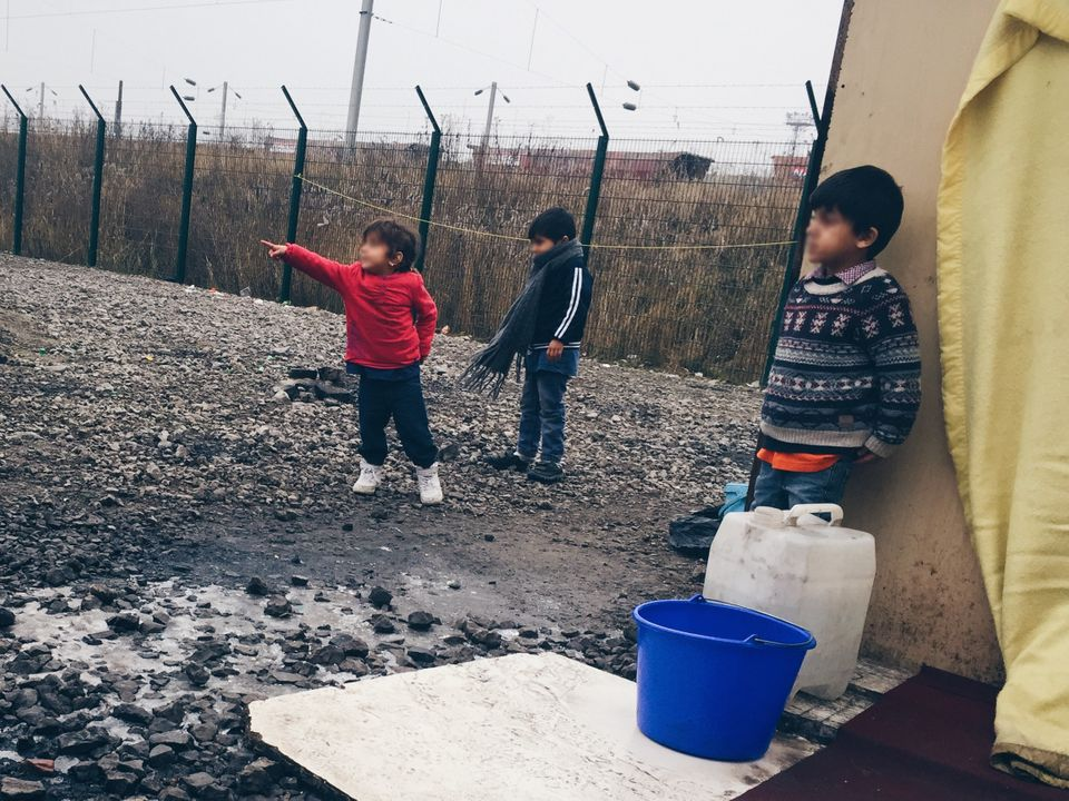 Photo taken by a campaigner of child refugees in Calais last month(pixellated by HuffPost