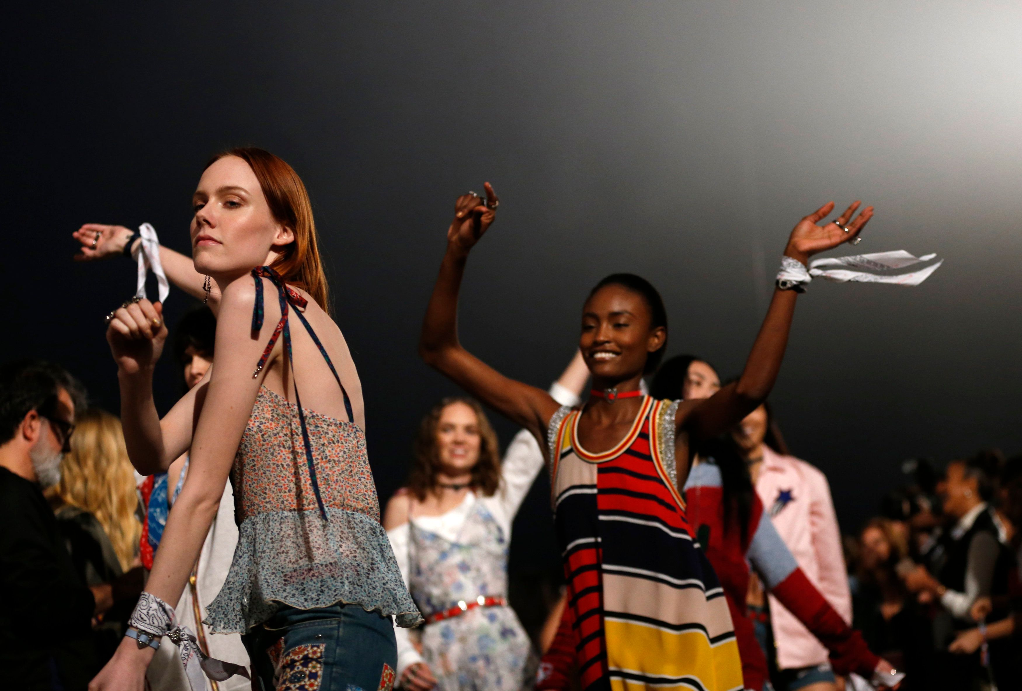 Models walk the runway during the 2017 Tommy Hilfiger Runway Show in Venice, California, on Feb.8.