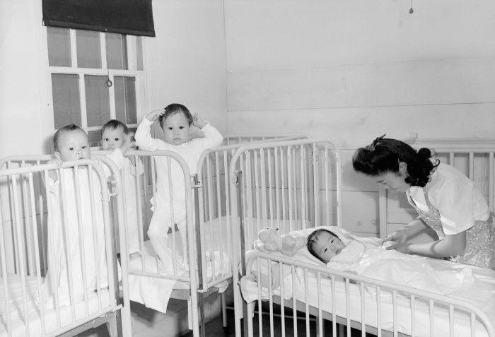 Orphaned infants incarcerated at the Manzanar Children's Village. Many children, some with as little as 1/8th Japanese ancest