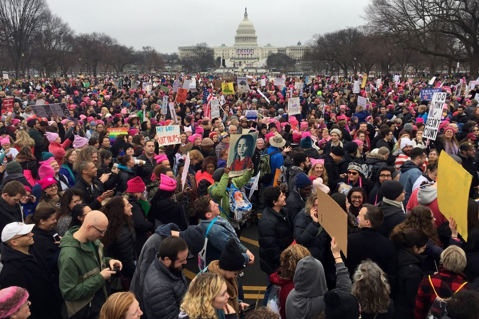Demonstrators protest on the National Mall during the Women's March on Washington on Jan. 21, 2017.