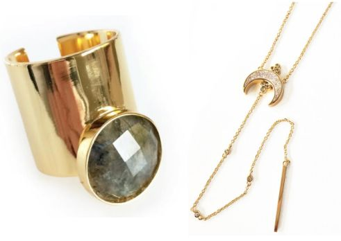 Titania Druzy Necklace and Moongazer Cuff Ring from Elizabeth Stone