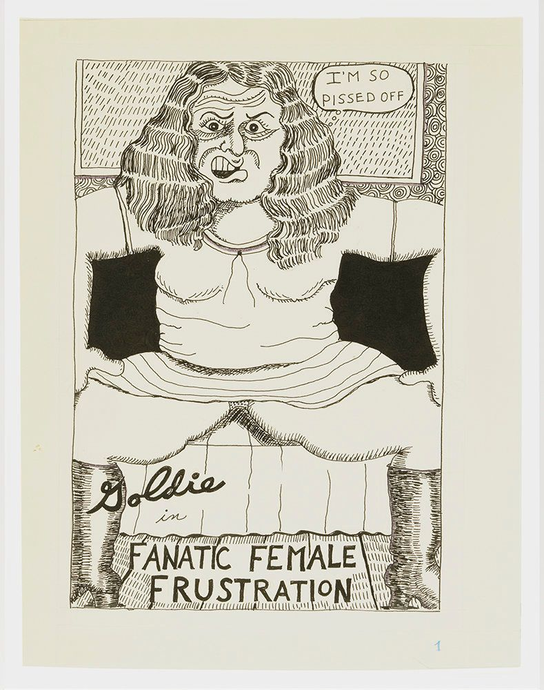 "Aline Kominsky-Crumb, ""Goldie Fanatic Frustation,"" page 1, 1975, ink on paper"