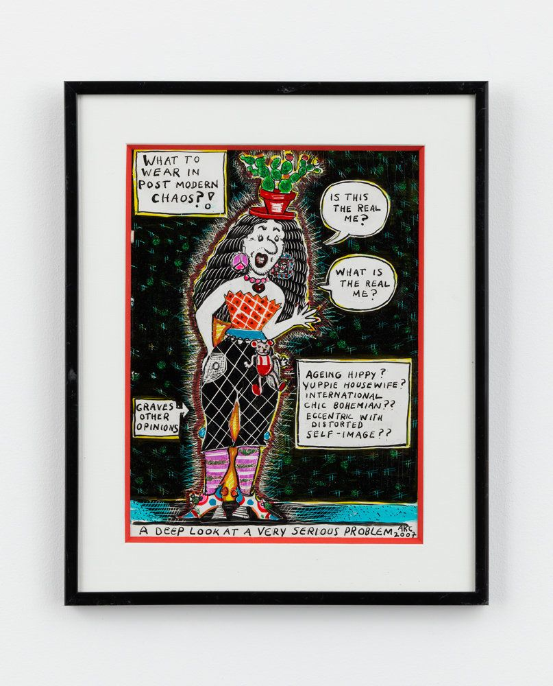 "Aline Kominsky-Crumb, ""What to wear in the Post Modern Chaos? A Deep Look at a very serious Problem,"" 2007, ink, glitter, gra"