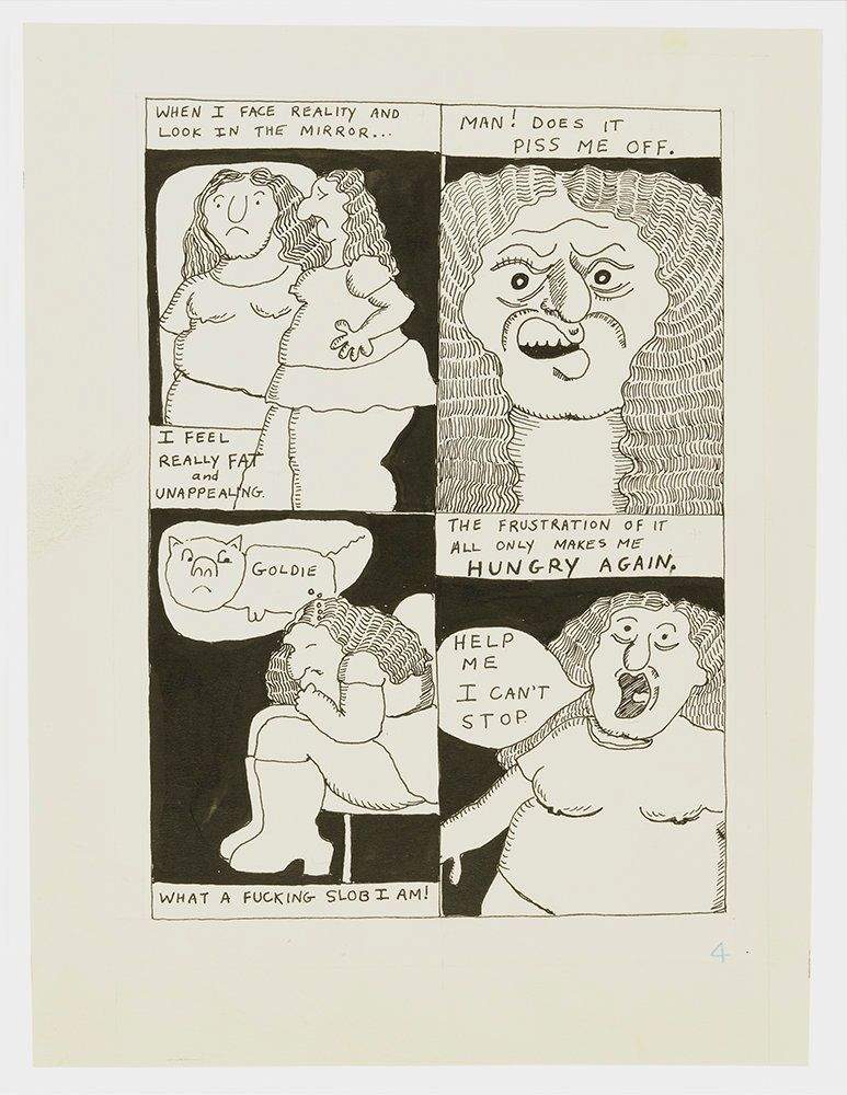 "Aline Kominsky-Crumb, ""Goldie Fanatic Frustation,"" page 4, 1975, ink on paper, 12 pages"