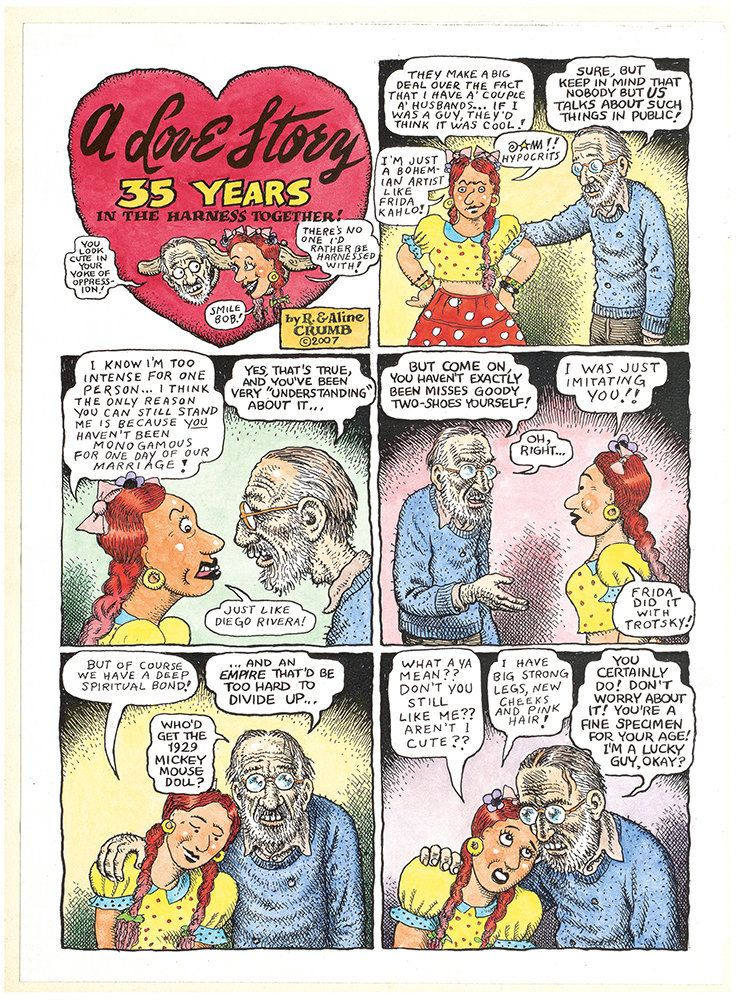 "Aline Kominsky-Crumb and R. Crumb, ""A Love Story: 35 Years in the Harness Together!,"" page 1, 2007, colored copies, 2 pages"