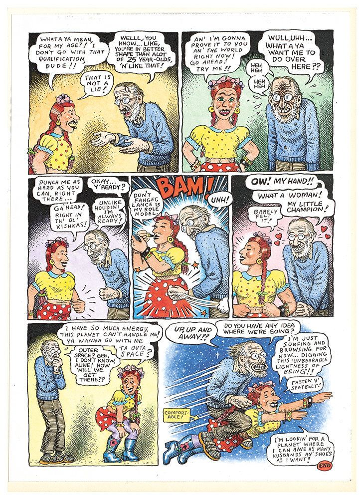 "Aline Kominsky-Crumb and R. Crumb, ""A Love Story: 35 Years in the Harness Together!,"" page 2, 2007, colored copies, 2 pages"