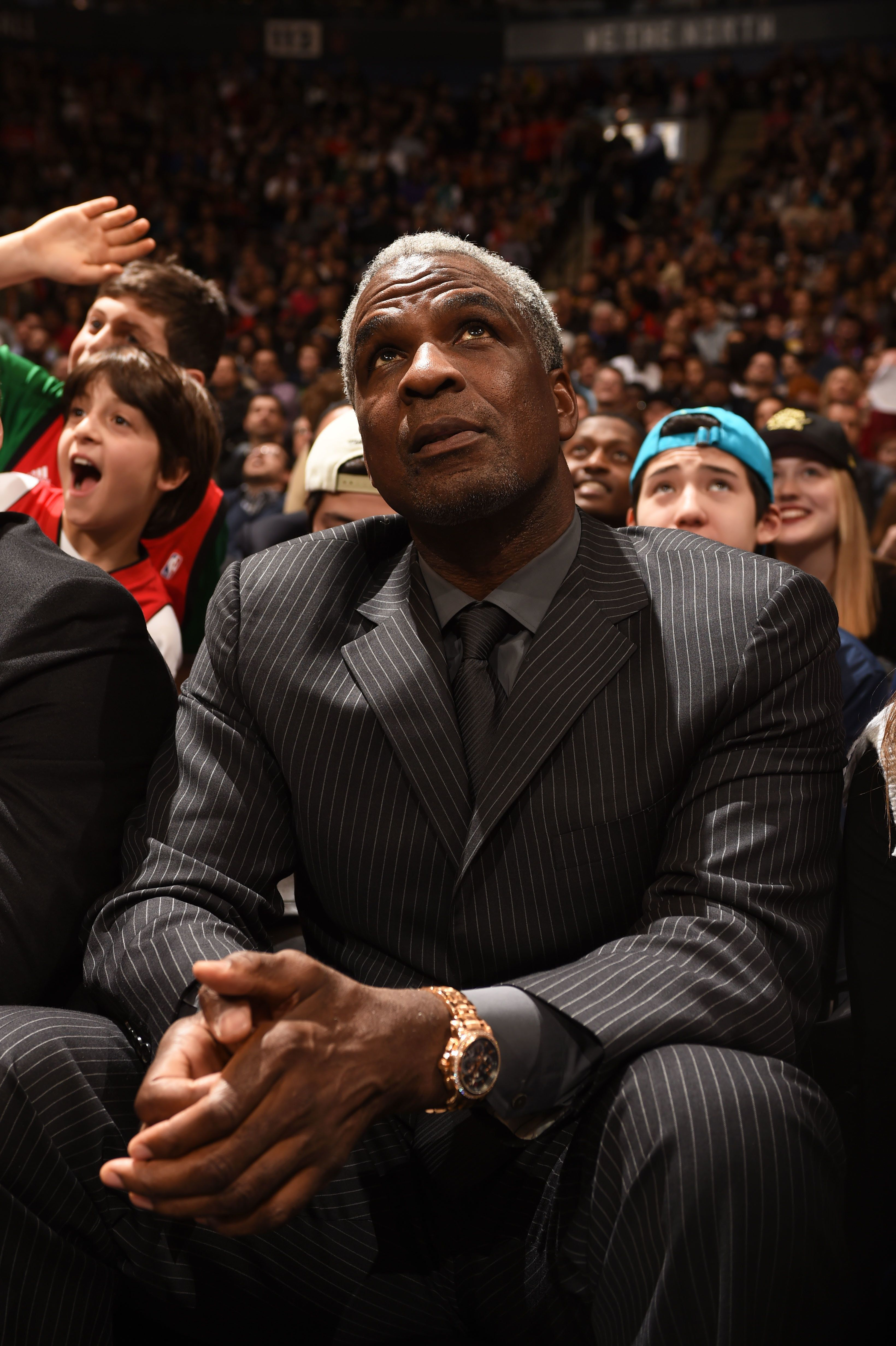 TORONTO, CANADA - March 13 : Former NBA player Charles Oakley during the game between the Miami Heat and Toronto Raptors on March 13, 2015 at the Air Canada Centre in Toronto, Ontario, Canada.  NOTE TO USER: User expressly acknowledges and agrees that, by downloading and or using this Photograph, user is consenting to the terms and conditions of the Getty Images License Agreement.  Mandatory Copyright Notice: Copyright 2015 NBAE (Photo by Ron Turenne/NBAE via Getty Images)
