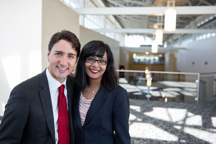 Canadian Prime Minister Justin Trudeau and Liberal MP Iqra Khalid.