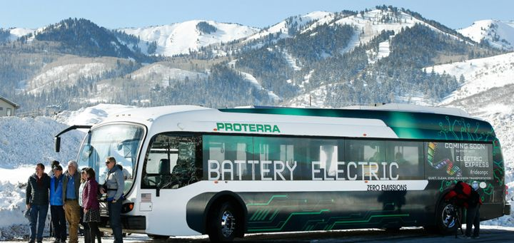 <p>Local leaders in Park City, Utah, recently held a press event during the Sundance Film Festival to announce their EV bus program.</p>