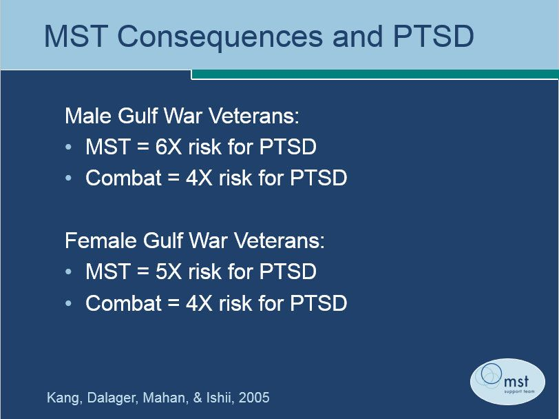 The prevalence of military sexual trauma (MST) leading to post-traumatic stress disorder (PTSD), compared to PSTD from combat