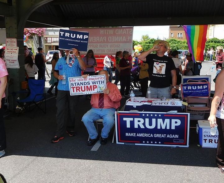 Trump supporters at the Bellingham Pride Festival in Washington