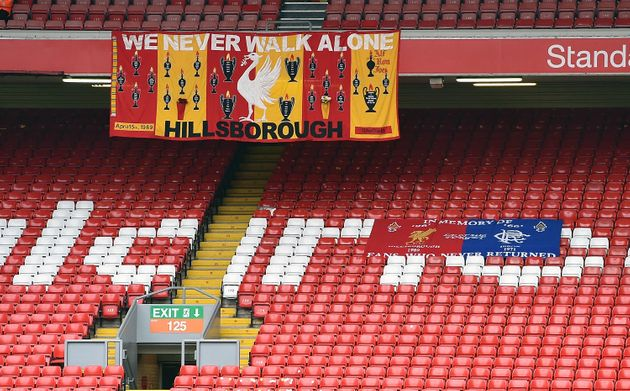 Flags in the stands at the memorial service marking the 25th anniversary of the Hillsborough