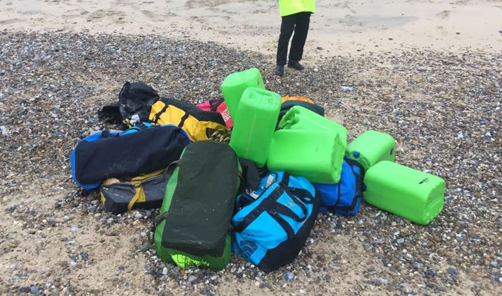Holdalls containing cocaine washed up on Hopton Beach, near Great Yarmouth in eastern England.