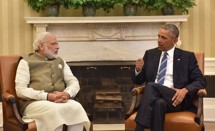 The Indian Prime Minister Narendra Modi meeting the US President Barack Obama in Oval Office at White House in Washington DC