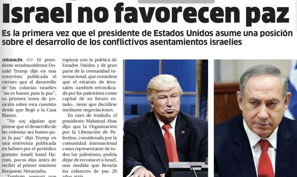 A screenshot from the digital version of El Nacional newspaper's Friday, Feb. 10, 2017 edition, showing a photo of Alec Baldw