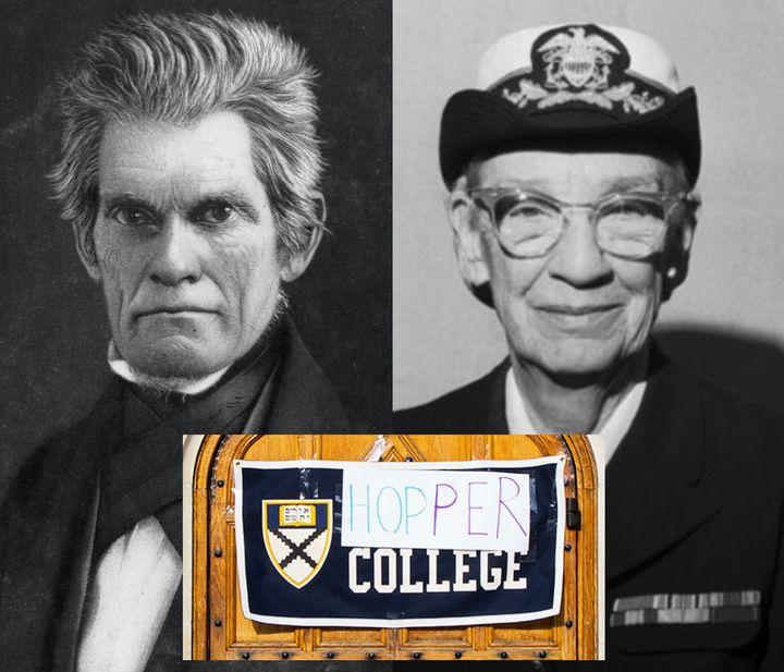 Left, John C. Calhoun: Vice President and slavery advocate. Right, Grace Murray Hopper, U.S. Navy rear admiral and groundbrea