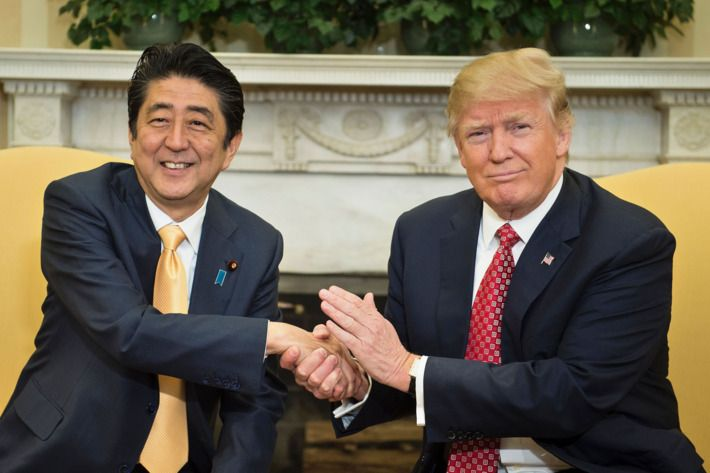 The 19-second handshake between Japanese PM Abe and current U.S. President Trump