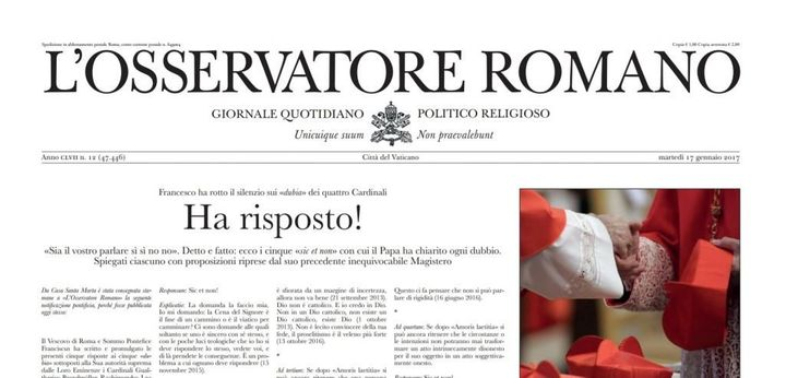 This fake front page mimics the official Vatican newspaper, L'Osservatore Romano.