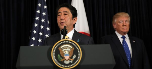 Flanked By Trump, Japan's Abe Condemns North Korea's Missile Launch