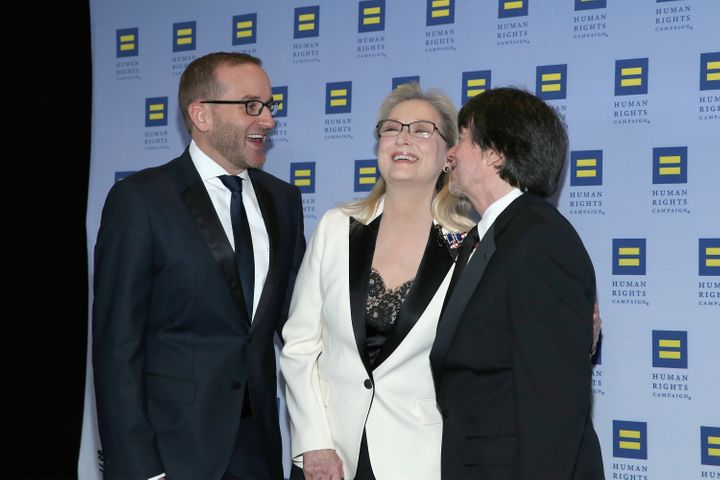 From left, HRC President Chad Griffin, honoree Meryl Streep and filmmaker Ken Burns attend the 2017 Human Rights Campaign Gal