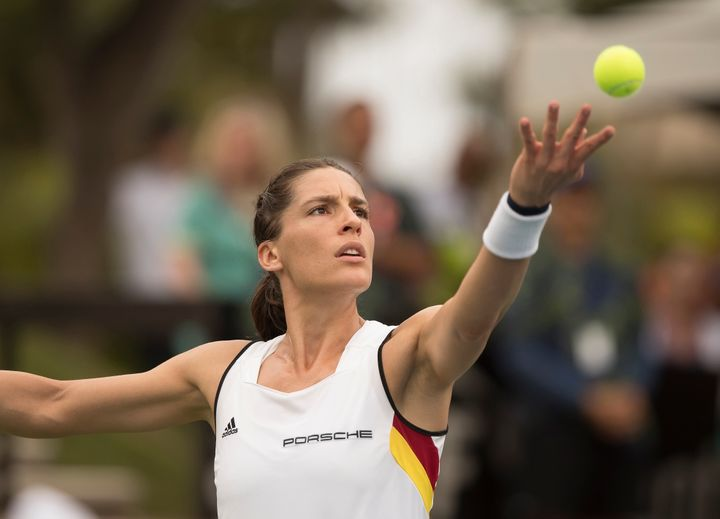 German tennis player Andrea Petkovic, seen during Saturday's match, later said that she considered walking off the court duri