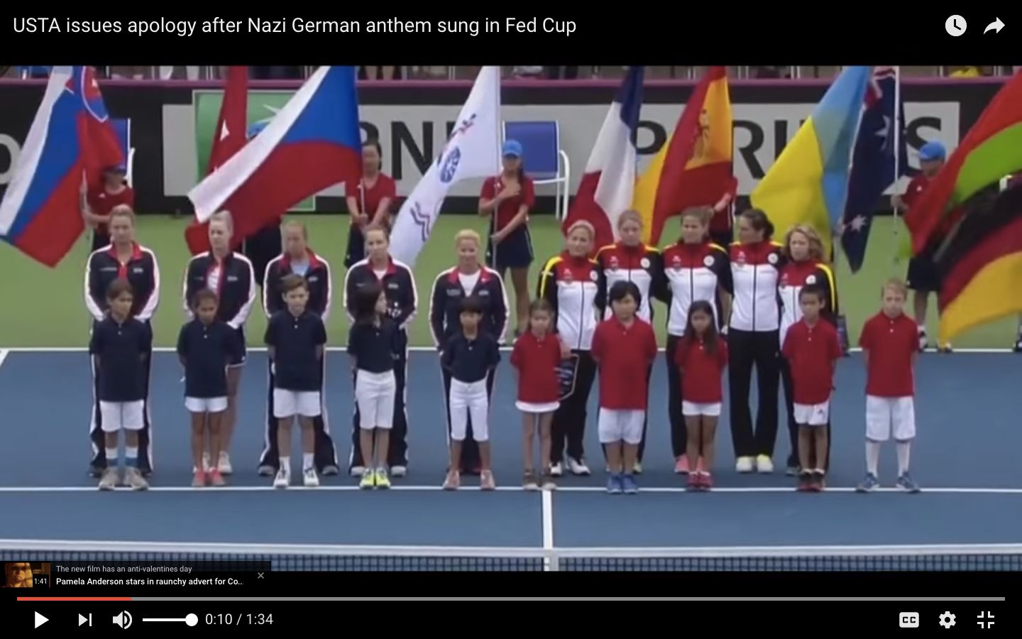 Members of Germanys tennis team appeared to try to sing over the outdated verse with their countrys modern anthem