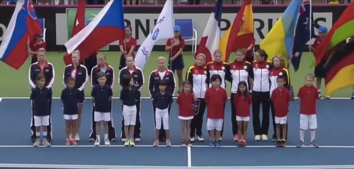 Members of Germany's tennis team, as well as fans, appeared to try to sing over the outdated verse with their country's moder
