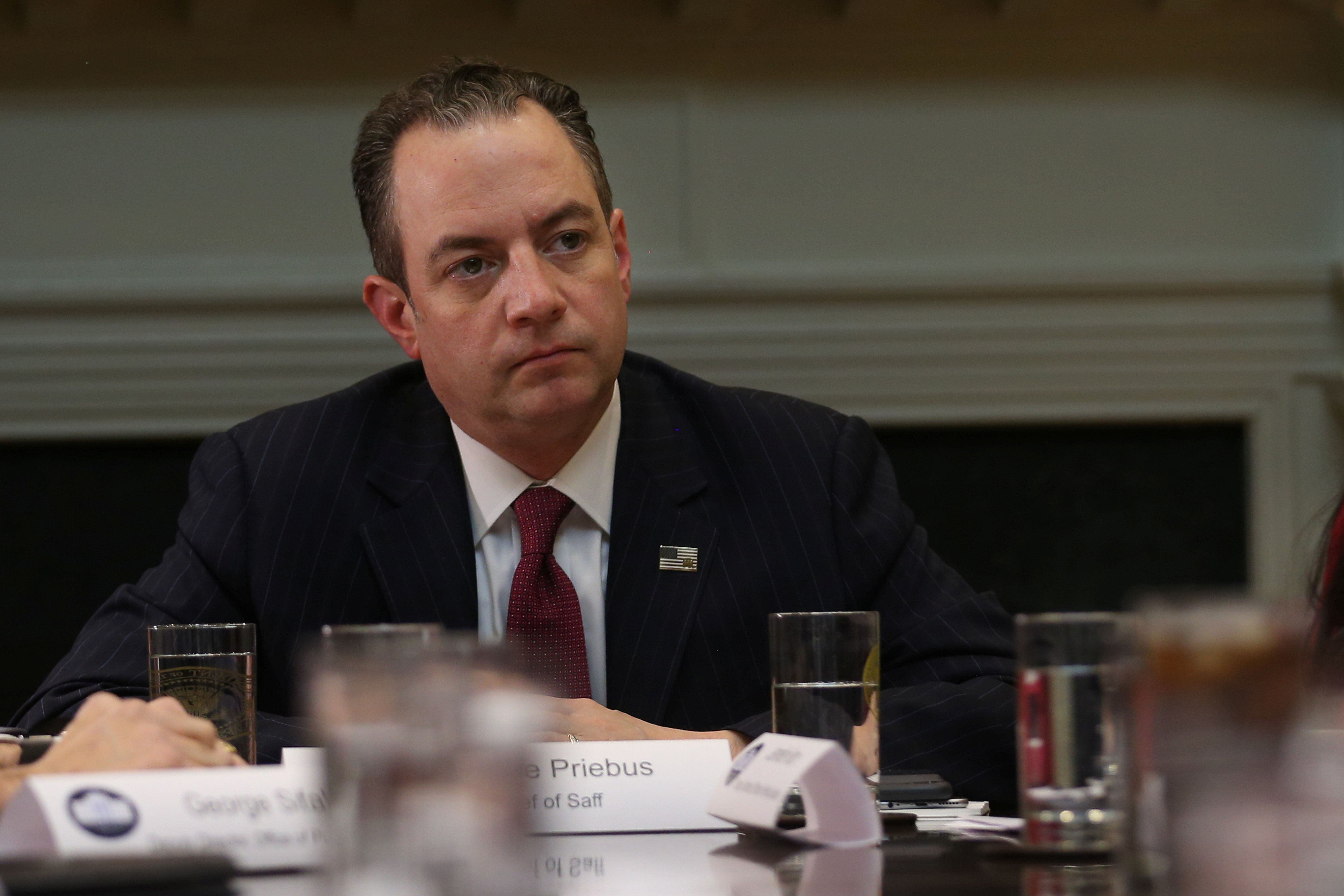 Chief of Staff Reince Priebus attends a breakfast meeting with small business leaders hosted by U.S. President Donald Trump (not pictured) at the Roosevelt room of the White House in Washington U.S., January 30, 2017.  REUTERS/Carlos Barria