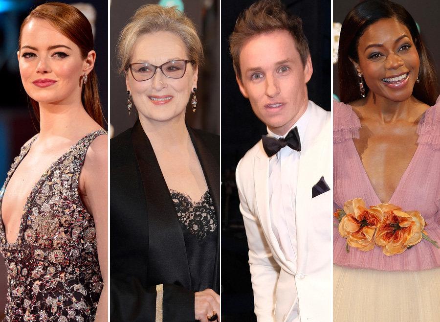 Emma Stone, Meryl Streep, Eddie Redmayne and Naomie Harris on the Bafta red